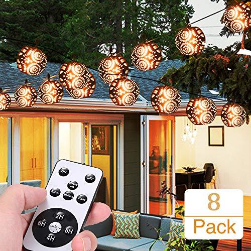 Flamme Lichterkette 10M, Weihnachten Lichterkette Halloween Lichterkette mit 8 ausgehöhlte Kugeln, mit Fernebedienung/IP44 Wasserdicht/4 Lichtmodi/Timer-Funktion
