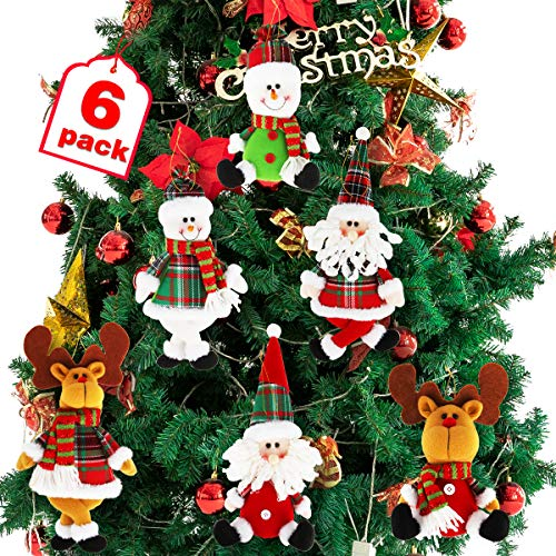 Dreampark Christmas Tree Ornaments, 6 Pack Xmas Plush Hanging Ornaments Holiday Party Decor Festive Season Pendant - Santa/Snowman/Reindeer Ornaments for Christmas Tree Decorations