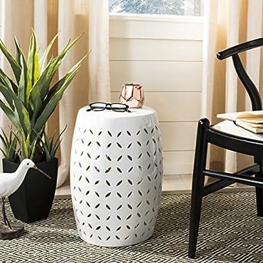 Safavieh Castle Gardens Collection Lattice Petal White Ceramic Garden Stool