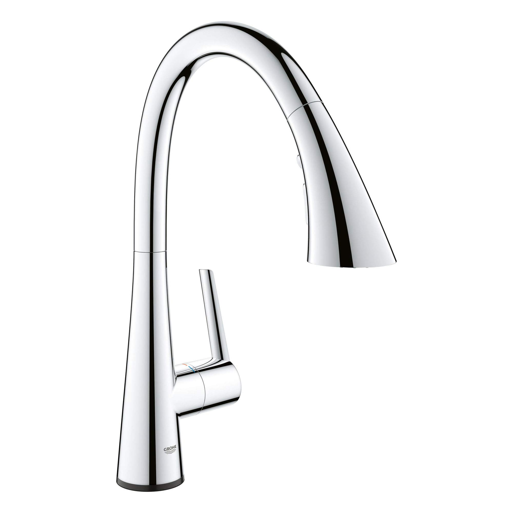 grohe 30205002 ladylux l2 touch single handle pull down triple spray kitchen faucet in starlight chrome