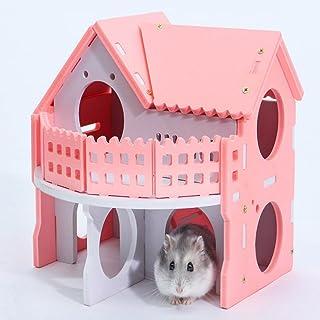 ハムスターハウス ハムちゃんの2階別荘 ペットハウス 木製ハウス ペット用品 可愛い家 運動不足肥満解消ストレス解消 通気性抜群 小動物 住宅昼寝休憩用 ピンク