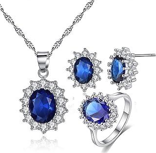 3eb4a6eab630 CARSINEL Blanco Oro Plateado Colgante Collar Pendientes y Anillos Brillante  Azul Zirconia Cúbica Conjunto de Joyas