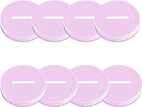 DRHOM 8Pcs Coin Slot Bank Lid Inserts Metal Stainless Steel Mason Jar Canning Jars Lid Change Bill Storage Jars 70mm (Pink)