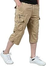 Leward Men's Casual Twill Elastic Cargo Shorts Loose Fit Multi-Pocket Capri Long Shorts