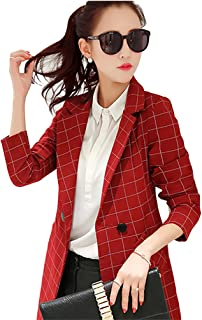 HaoMing Womens Casual Check Plaid Work Office Long Blazer Slim Jacket Suits