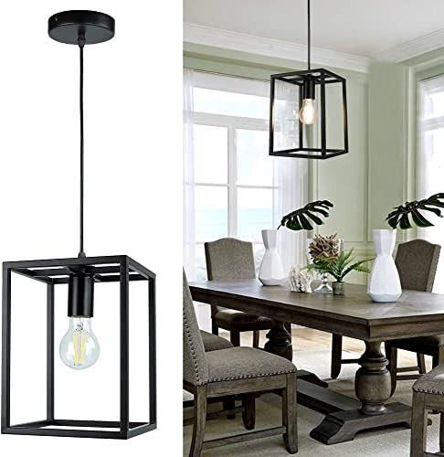 1 Light Black Lantern Pendant Light Fixture, Depuley Rustic Hallway Chandelier Lighting with Adjustable Cord, Rectangle Metal Cage Hanging Lights for Foyer /Kitchen Island/Bar/Entryway, 1XE26 Base