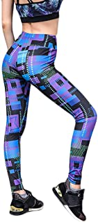 Imkacc Women 3D Printed Leggings Sports Gym Yoga Workout High Waist Running Pants Fitness Tights Dry Fit