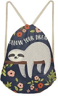 Sloths Gifts for Girls Drawstring Backpack Cute Sloth Print Gym Sackpack Drawstring Cinch Bags
