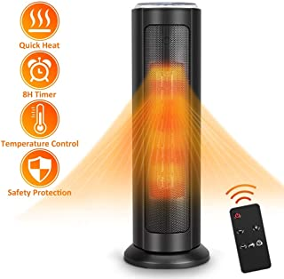 Space Heater - 1500W Electric Heater, 3S Quick Heat Up, Oscillating, 8H Timer, Overheat and Tip-Over Protection, Adjustable Thermostat, Remote Control, 22-Inch Ceramic Heater Fan for Large Room