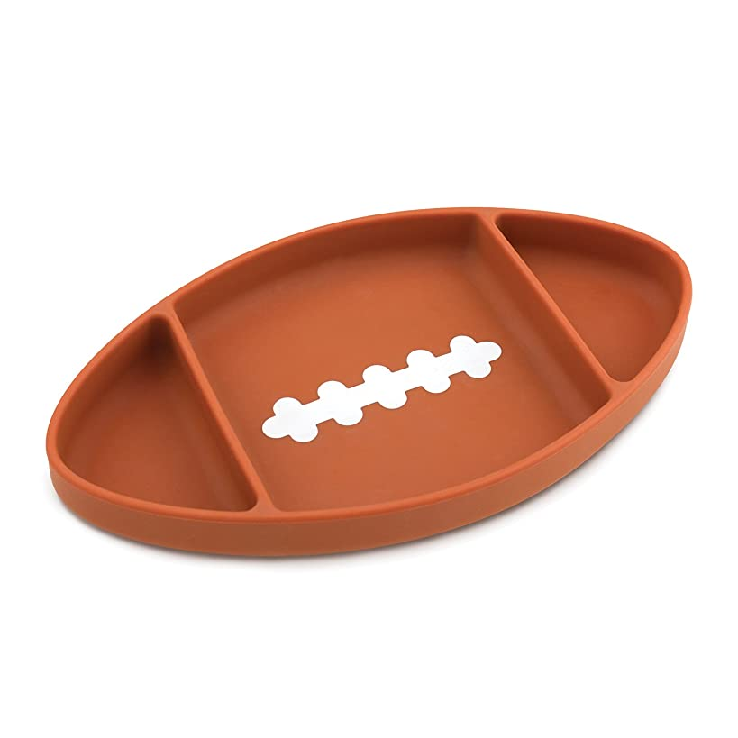 Bumkins Silicone Grip Dish, Suction Plate, Divided Plate, Baby Toddler Plate, BPA Free, Microwave Dishwasher Safe – Football
