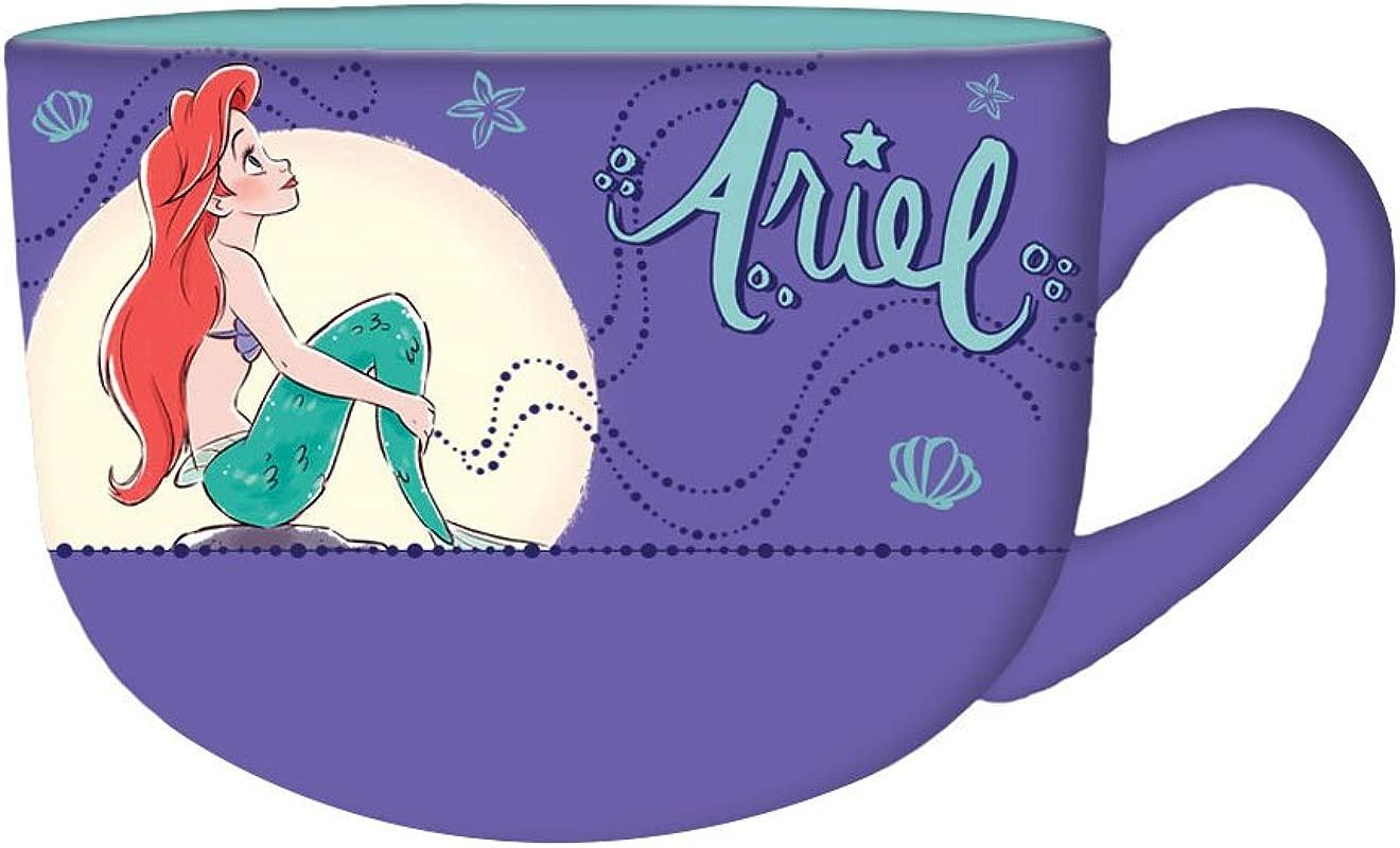 Silver Buffalo DP114633 Disney S Little Mermaid Princess Ariel Moonlight Ceramic Soup Mug 24 Oz Multicolor