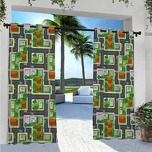 Outdoor Door Curtain Birds Eye View Map of The Abstract Town Streets Roads Houses and Cars Cartoon Print Elegant Waterproof Curtain Block Enough Sunlight When Needed Multicolor W120 x L84 Inch