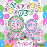 WERNNSAI Conjunto de Suministros Fiesta Llama - 105 PCS Rosa Alpaca Decoraciones Mujeres Cumpleaños Banner Globos Cubiertas de Mesa Platos Tazas Servilletas Pajitas