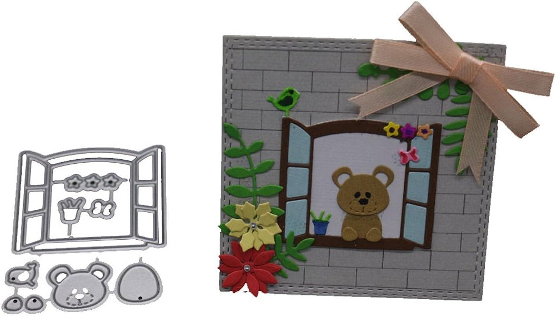 Dabixx Window Bear Cutting Cutting Cutting Dies Stencil DIY Scrapbooking Embossing Album Card Crafts B07FVNSLZW  | Elegantes Aussehen  1ca5fc