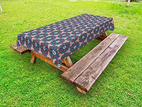 ABAKUHAUS traditioneel Tafelkleed voor Buitengebruik, zeshoekige tegels, Decoratief Wasbaar Tafelkleed voor Picknicktafel, 58 x 120 cm, Veelkleurig