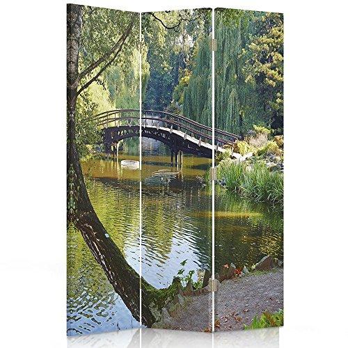 Feeby Frames Paravent déco Petit Pont Image 1 Face 3 pans Vert 110x150 cm
