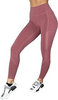 HaoDian Womens Mesh High Waist Yoga Pants with Hidden Pocket,Tummy Control 4 Way Stretch -Workout Running Leggings