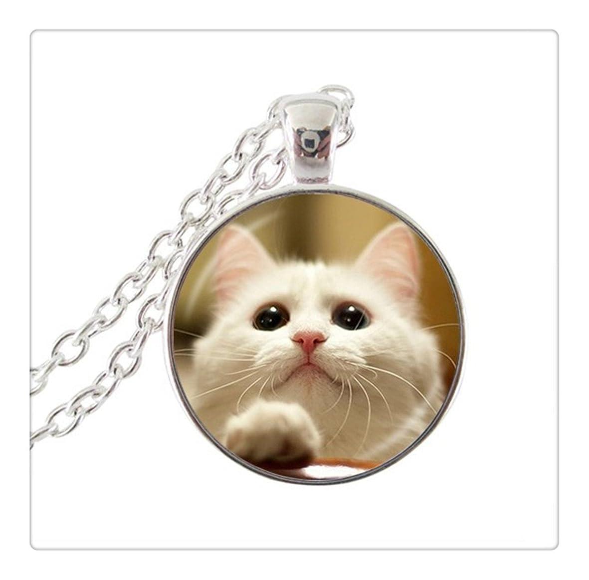結果として狂気希少性猫のネックレスキティペンダントステートメントネックレス猫のチョーカーネックレスアート絵ガラスカボションネックレスジュエリー
