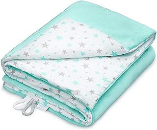 Manta para bebé EliMeli, 75 x 100 cm, forro polar muy suave, 100% algodón, relleno supercristalino, de alta calidad, perfecta para bebés Mint - Mint Stars