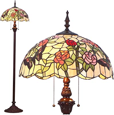 Bieye照明 フロアスタンドランプ ステンドグラスランプ インテリアライト オシャレランプ 雰囲気ランプ バラ 薔薇 ロマンチック 癒しグッズ フロアスタンド フロアライト フロアランプ 照明