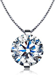 Kigmay Jewelry 925 Sterling Silver Clear Cubic Zirconia Solitaire Pendant Necklace for Women 18