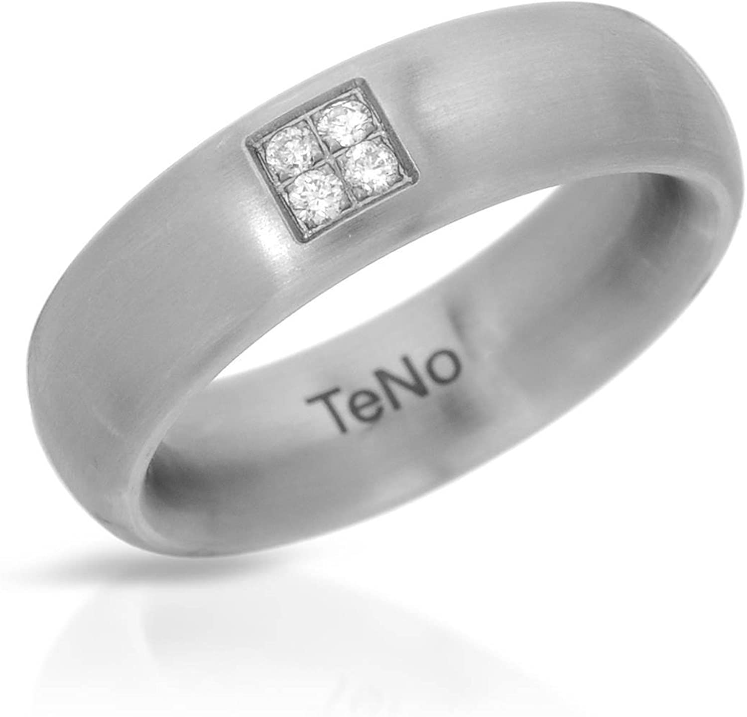 Teno Stainless Steel 0.08 CTW Color F, VS1 Diamond Band Ring.