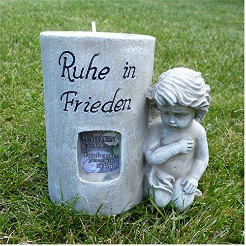 Engel für Foto und Teelicht Grabschmuck Grabdeko *Ruhe in Frieden* grau - antik, H 11,5 cm