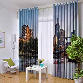 Outdoor Privacy Curtain for Pergola City,Early Morning Scenery in Melbourne Australia Famous Yarra River Scenic,Orange Green Pale Blue,W72 xL96 for Front Porch Covered Patio Gazebo Dock Beach Home