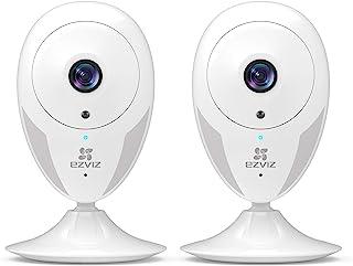 EZVIZ CTQ2C Cámara de vigilancia WI-FI Interior IP Cámara WiFi 2.4GHz Hogar Bebé Monitor Visión Nocturna Alerta de Movimientos Audio bidireccional Compatible con Alexa Blanco -2 Piezas (Camara 720P)