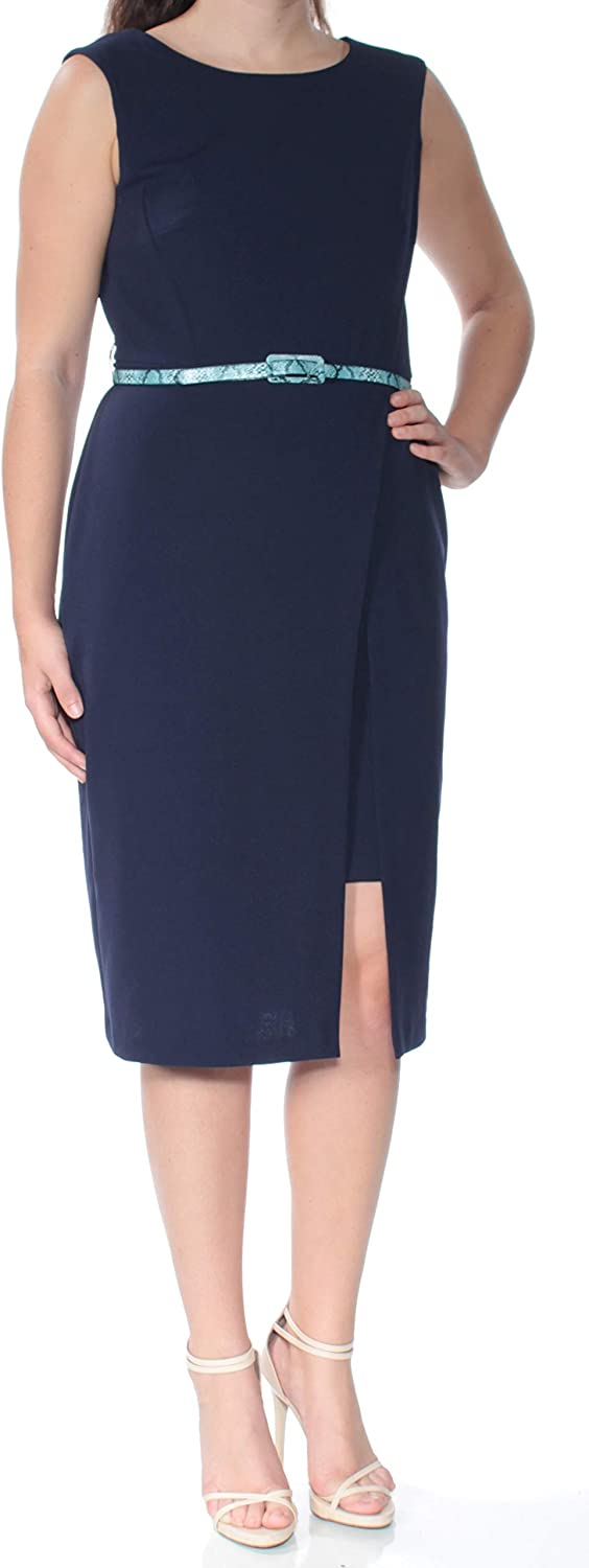 Connected Women's Petite Belted Sheath Dress