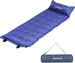 KingCamp Camping Self-Inflating Pad,Sleeping Mat with Attached Inflatable Pillow,Water Repellent Coating, Quick Flow ABS Value, Firm Ultralight Comfortable for Outdoor
