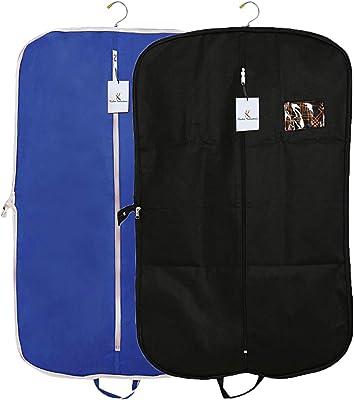 Kuber Industries 2 Pieces Foldable Non Woven Men's Coat Blazer Suit Cover (Black & Royal Blue) -CTKTC041687