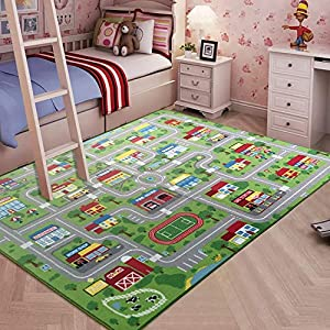 City Street Map Kids' Rug with Roads Kids Rug Play mat with School Hospital Station Bank Hotel Book Store Government Workshop Farm for Boy Girl Nursery Bedroom Playroom Classroom (51″ X 75″)