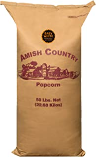 Amish Country Popcorn - 50 Pound Baby White - Small & Tender Popcorn - Perfect for Fundraisers - Non GMO, Gluten Free, Microwaveable, Stovetop and Air Popper Friendly With Recipe Guide
