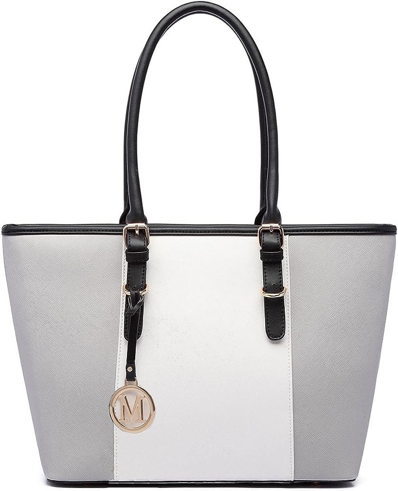 Miss lulu, borsa da donna, in pelle sintetica, grigia E1661A