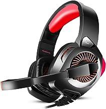 هدست بازی سازی PHOINIKAS H9 ، صدای استریو باس Surround Sound , برای PS4 , Xbox One , PC Mac Controller ، دارای صدای جدا کننده صدا ، چراغ LED ، کنترل صدا از طریق هدفون گوش (قرمز