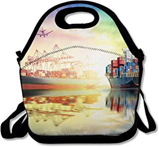 Reusable Lunch Bag for Men Women International Airplane Logistics Container Cargo Delivery Ship Industrial Boat Bridge Carrier Commerce Insulated Lunch Tote for Travel Office School