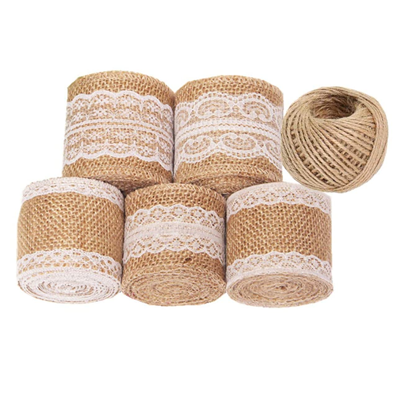 UUsave 11 Yards/396 inches Natural Burlap Ribbon with Lace and 130 Feet Jute Twine for DIY Handmade Wedding Crafts Lace Linen Fabric Ribbon Roll Trims for Wedding Decorations Lace Arts and Crafts (6)