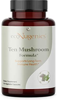 EcoNugenics - Ten Mushroom Formula - 120 Capsules - Medicinal Mushroom Supplement & Immune System Support - Reishi, Lions ...