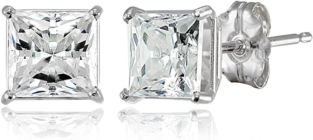 14K Gold Princess-cut Prong-set New product!! Stud AAA set Earrings Cubic Indefinitely with