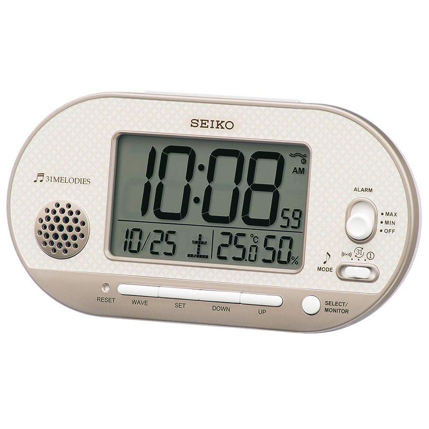 頻繁に真鍮北米セイコークロック(Seiko Clock) 置き時計 薄ピンクゴールド 本体サイズ: 8.1×15.9×4.9cm 目覚まし時計 電波 デジタル 温度 湿度 表示 SQ795G