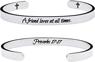 Yiyang Friendship Bracelets Chirstian Jewelry Proverb Engraved A Friend Loves at All Times