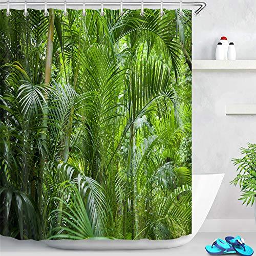 LB Tropisch Dschungel Duschvorhang Anti Schimmel Wasserdicht Grün Pflanzen Bad Gardinen Palme Blätter Polyester Badezimmer Vorhang mit Haken,150x180cm