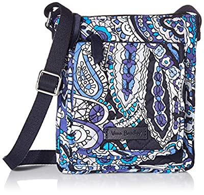 Vera Bradley Signature Cotton Mini Hipster Crossbody Purse with RFID Protection, Deep Night Paisley