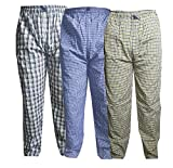 Dryon Men's Cotton Checkered Pyjama Pack of 3 (Size -Extra Large,Blue, Yellow and Black White)