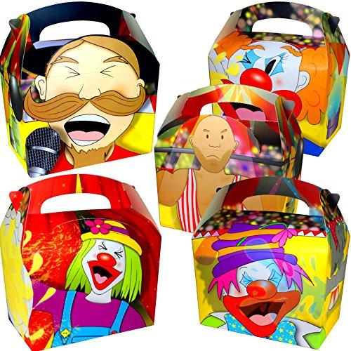 German Trendseller® - 12 x Zirkus Party Boxen mit Griff zum Befüllen ┃ Clown ┃ Mitgebsel ┃ Kindergeburtstag