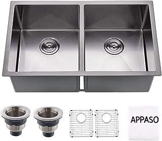 APPASO 32-inch Double Bowl Kitchen Sink, 16 Gauge Stainless Steel 10 Inch Deep Undermount 50/50 Kitchen Sink with Grid and Strainer