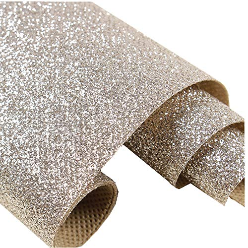 Self Adhesive Champagne Glitter Wallpaper, Peel and Stick Roll Sparkle Glitter Decor Art Craft Fabric (17.4in x 16.4ft (One Roll))
