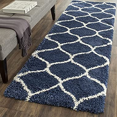 Safavieh Hudson Shag Collection SGH280C Navy and Ivory Moroccan Ogee Plush Runner (2'3  x 6')