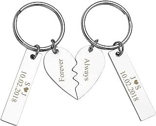 Custom Personalized 2pcs Matching Couple Keychain Set for Girlfriend Boyfriend Couples Valentine's Day